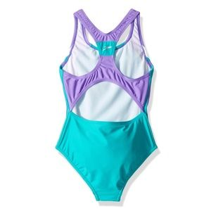 Speedo Girl's Turquoise Purple Swimsuit Sz 8 NWT